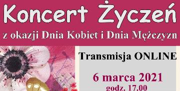 Plakat informujący o koncercie na żywo z okazji Dnia Kobiet i Dnia Mężczyzn w Starym Polu