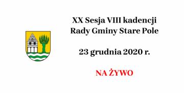 Grafika informująca o terminie XX Sesji VIII kadencji Rady Gminy