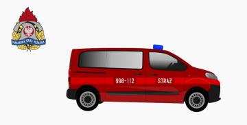 Grafika przedstawia model samochodu strażackiego zakupionego przez Państwową Straż Pożarną