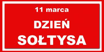 Napis 11 marca Dzień Sołtysa na czerwonym tle