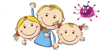 Głowy dzieci w stylu komiksowym