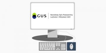 Zestaw komputerowy z logotypem Narodowego Spisu Powszechnego Ludności i Mieszkań 2021 na ekranie monitora