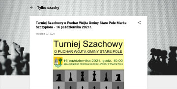 Zrzut ekranu z artykułem o turnieju szachowym